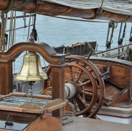 tall ship: A Sailing Ships Helm.