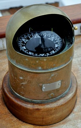 The Ships Compass on a Sailing Vessel. Stock fotó
