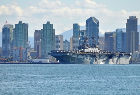 San Diego, USA - February 22, 2011 - The USS Boxer (LHD-4) departing San Diego for the Middle East.