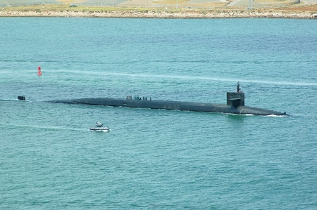 San Diego, California, March 1, 2011: A Trident II D5 submarine-launched ballistic test missile was launched from an Ohio-class ballistic missile submarine off the coast of Southern California.