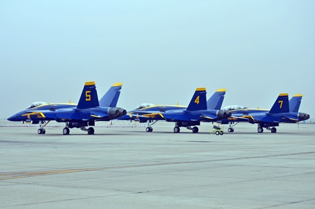 airpower: San Diego, California, October 10, 2010: Blue Angels FA-18 Hornets awaiting to perform at the Miramar Air Show