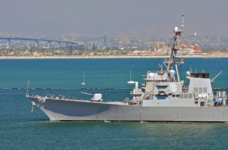 destroyer: A U.S. Navy Guided Missile Destroyer returning to San Diego Harbor.