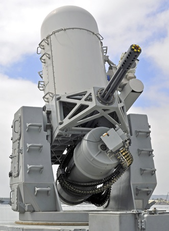 usn: The 20mm Close-in Weapon System (CIWS) onboard a Naval Warship. Stock Photo
