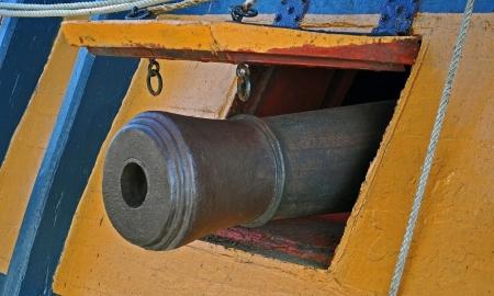 firepower: The Naval Deck Gun of an ancient sailing vessel  Stock Photo