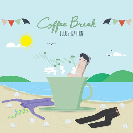 break: Coffee Break Illustration Vector