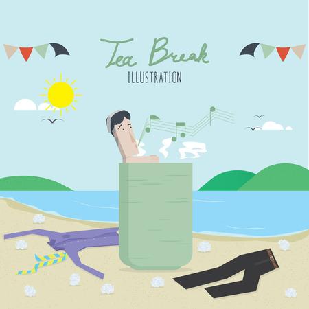 break: Tea Break Illustration Vector