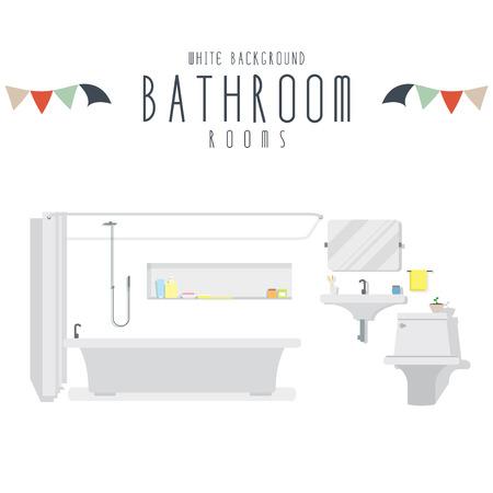 Bathroom, Vector illustration of bathroom (White Background). Ilustracja