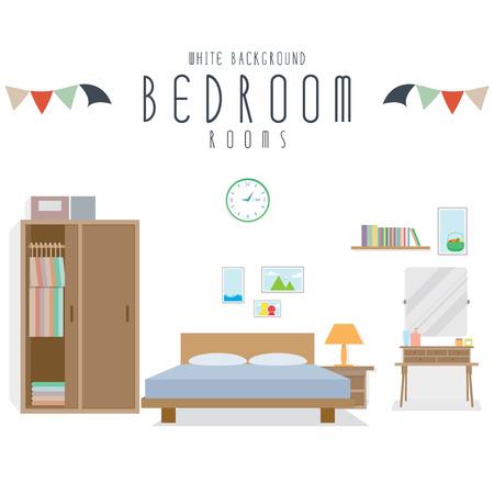 Bedroom, Vector illustration of bedroom (White Background). Ilustracja