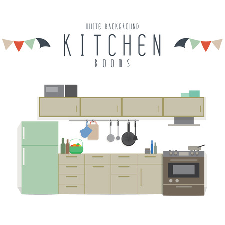 Kitchen, Vector illustration of kitchen (White Background).