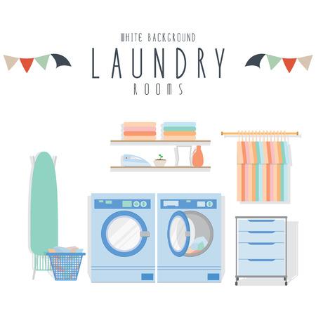 Laundry, Vector illustration of laundry (White Background). Vettoriali
