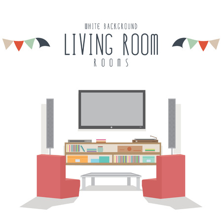 residential district: Living room, Vector illustration of living room (White Background).