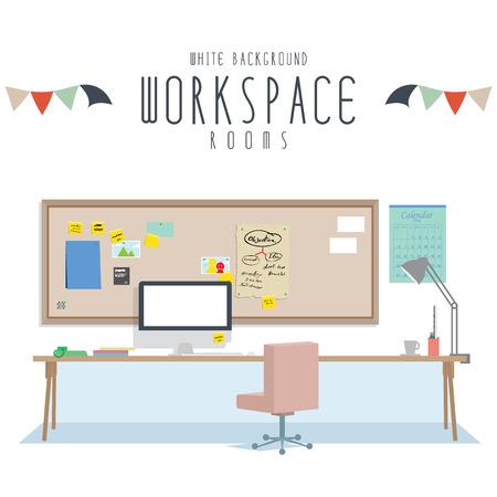 Workspace, Vector illustration of workspace (White Background). Ilustracja