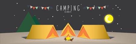 campsite: Campsite, illustration vector of a campsite. (Night)