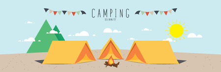 summer activities: Campsite, illustration vector of a campsite. (Day)