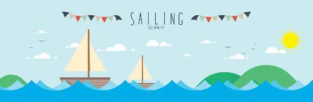 Sailing on the sea vector illustration.