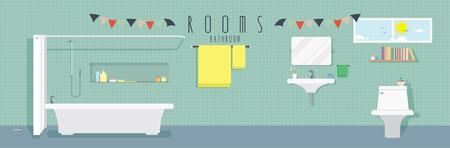 bar ware: Bathroom (Rooms), Vector illustration of a bathroom.