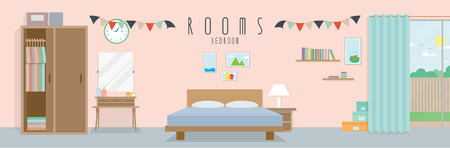 Bedroom (Rooms), Vector illustration of a bedroom.