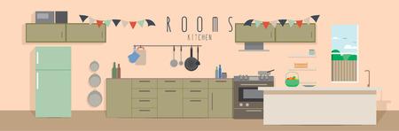 Kitchen (Rooms), Vector illustration of a kitchen.
