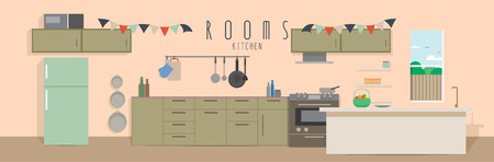 Kitchen (Rooms), Vector illustration of a kitchen.