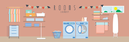 laundry washer: Laundry (Rooms), Vector illustration of a laundry.