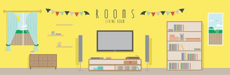 Living room (Rooms), Vector illustration of a living room. 일러스트