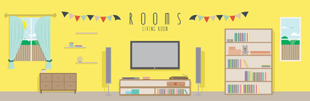 Living room (Rooms), Vector illustration of a living room. Vectores