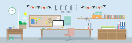 Workspace (Rooms), Vector illustration of a workspace. Stock Illustratie