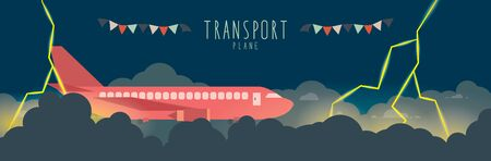 bad weather: Vector Illustration of Plane in the sky that bad weather. (transportation)