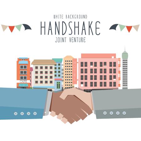 venture: Vector illustration of Handshake, Joint venture (White Background)