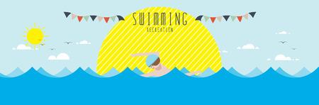 vector illustration of Swimming (Recreation)