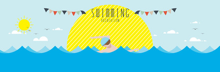 vector illustration of Swimming (Recreation)