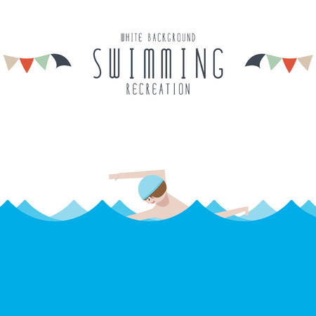 cute kids: Vector illustration of Swimming (White Background)