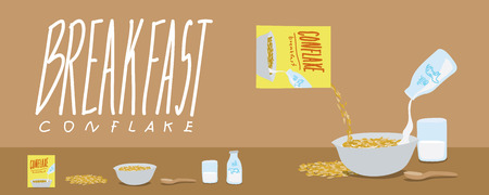 corn flakes: Vector illustration of healthy breakfast-cornflakes and milk splash