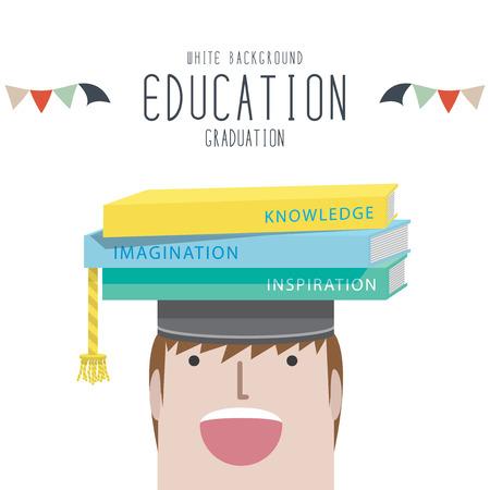 graduation hats: Vector Illustration of graduation (Education) Illustration