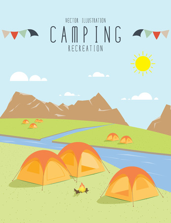 rivulet: illustration vector of camping in the natural atmosphere. (Day)
