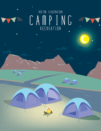 rivulet: illustration vector of camping in the natural atmosphere. (Night)