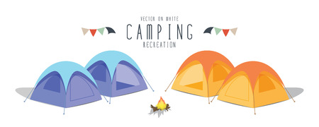 summer vacation: illustration vector camping on white background. (Tent)