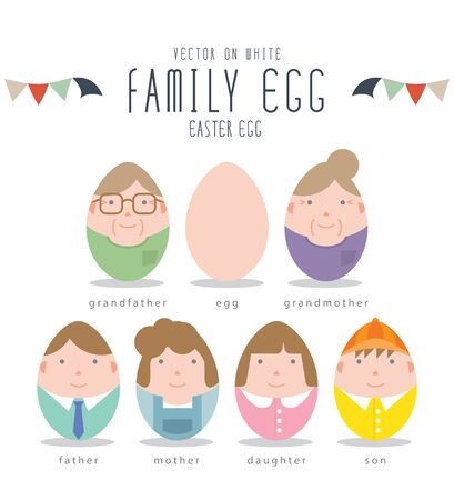 Vector Illustration Cute Family Characters Of Easter Eggs. Illustration