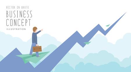 図ベクトル ビジネスマンは株式市場のフラット スタイルの上に紙飛行機に乗る。