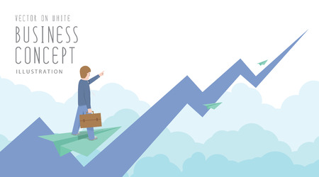 Illustration vector businessman ride on paper plane to the top of the stock market flat style. Иллюстрация