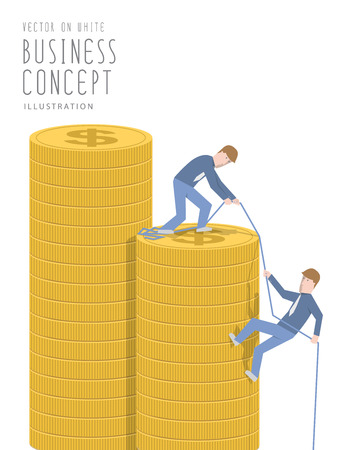 pull up: Illustration vector businessman helping his friend pull up on the pile of coins flat style.