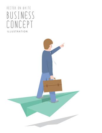 Illustratie vector zakenman rijden op papier vliegtuig vlakke stijl. Stock Illustratie