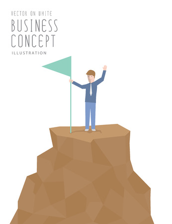Illustration vector businessman holding flag on top of mountain. Business success concept flat style.