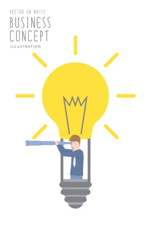 smart goals: Illustration vector businessman in a bulb balloon with telescope  flat style.