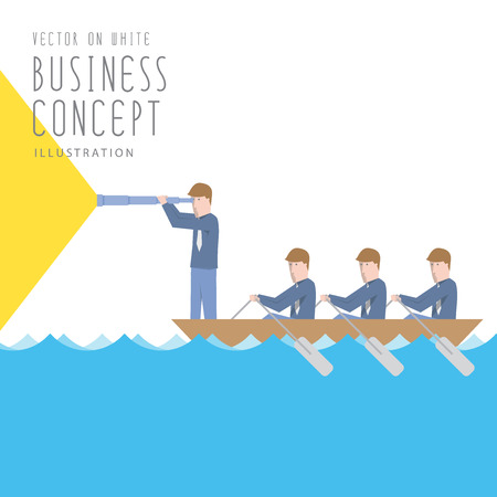 Illustration vector businessmen in a boat with telescope flat style. Ilustrace