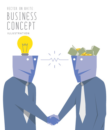 barter: Illustration vector two businessmen exchange money with idea  and handshake. Agreement and success flat style.
