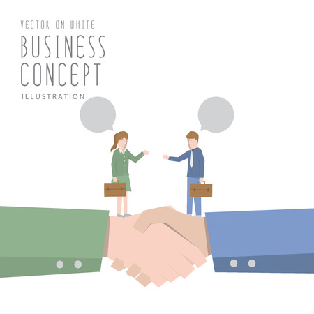 rapport: Illustration vector businessman and businesswoman talking and agreement business flat style. Illustration