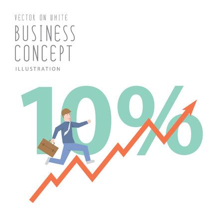 Illustration vector  businessman run up stock graph growing chart flat style.