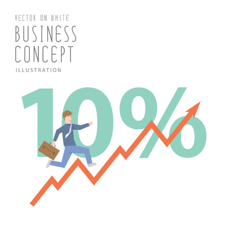 Illustration vector  businessman run up stock graph growing chart flat style.