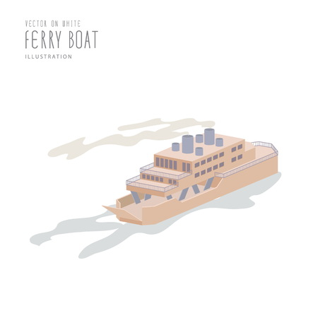 ferry boat: Illustration vector Ferry Boat on white background flat style.
